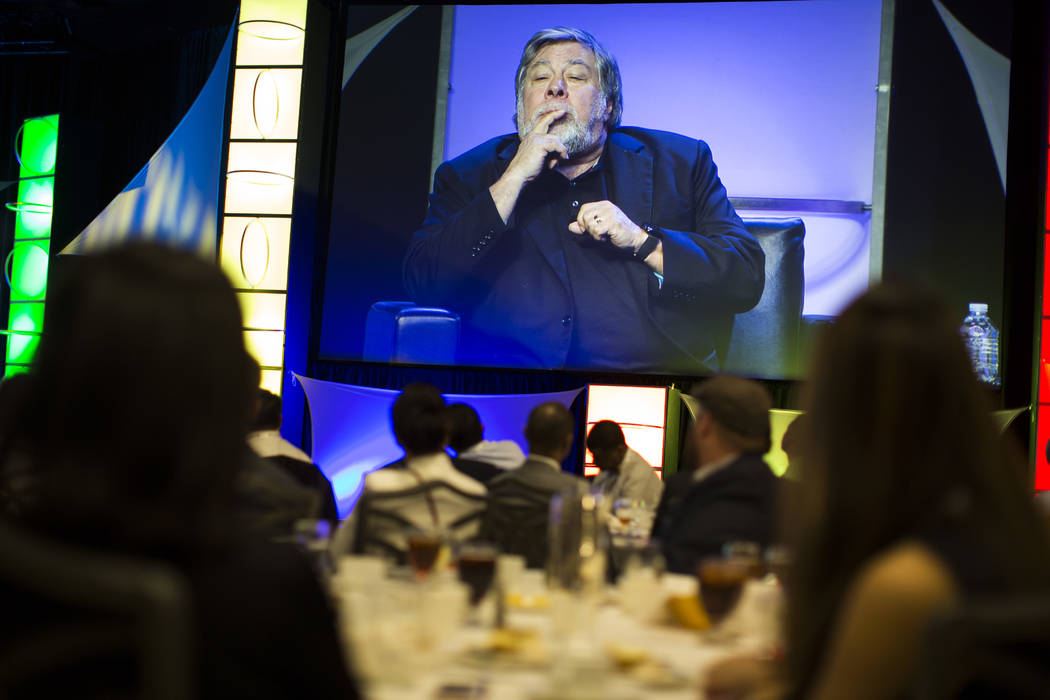 Apple co-founder Steve Wozniak speaks at the RECon show at the Westgate on Monday, May 22, 2017. Wozniak said the use of robots will not lead to mass unemployment. (Todd Prince/Las Vegas Review-Jo ...