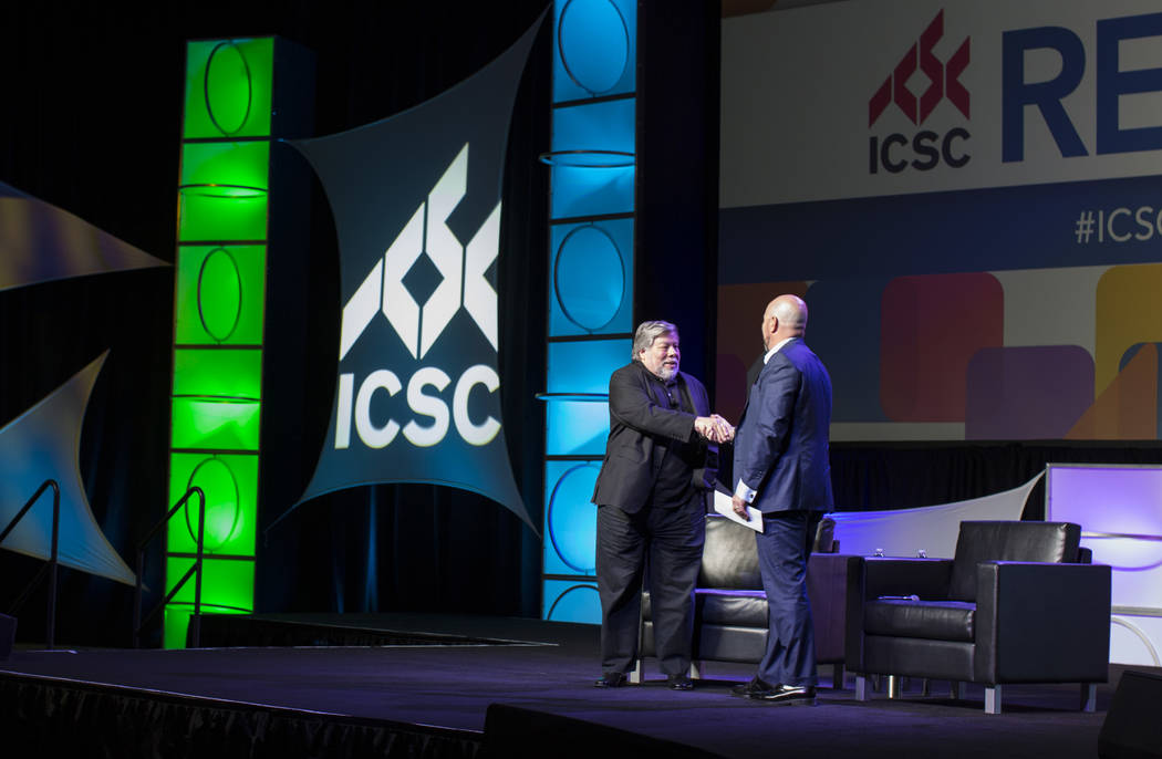 Apple co-founder Steve Wozniak concludes his speech at the RECon show at the Westgate on Monday, Wozniak spoke for an hour about the future of technology. May 22, 2017. (Todd Prince/Las Vegas Revi ...