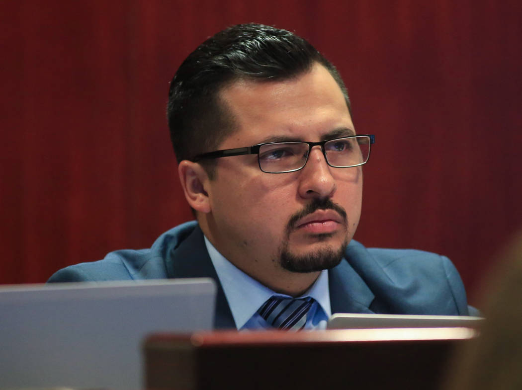Assemblyman Edgar Flores during a legislative hearing about Assembly Bill 277, at the Grant Sawyer State Office Building in Las Vegas on Friday, March 31, 2017. (Brett Le Blanc/Las Vegas Review-Jo ...