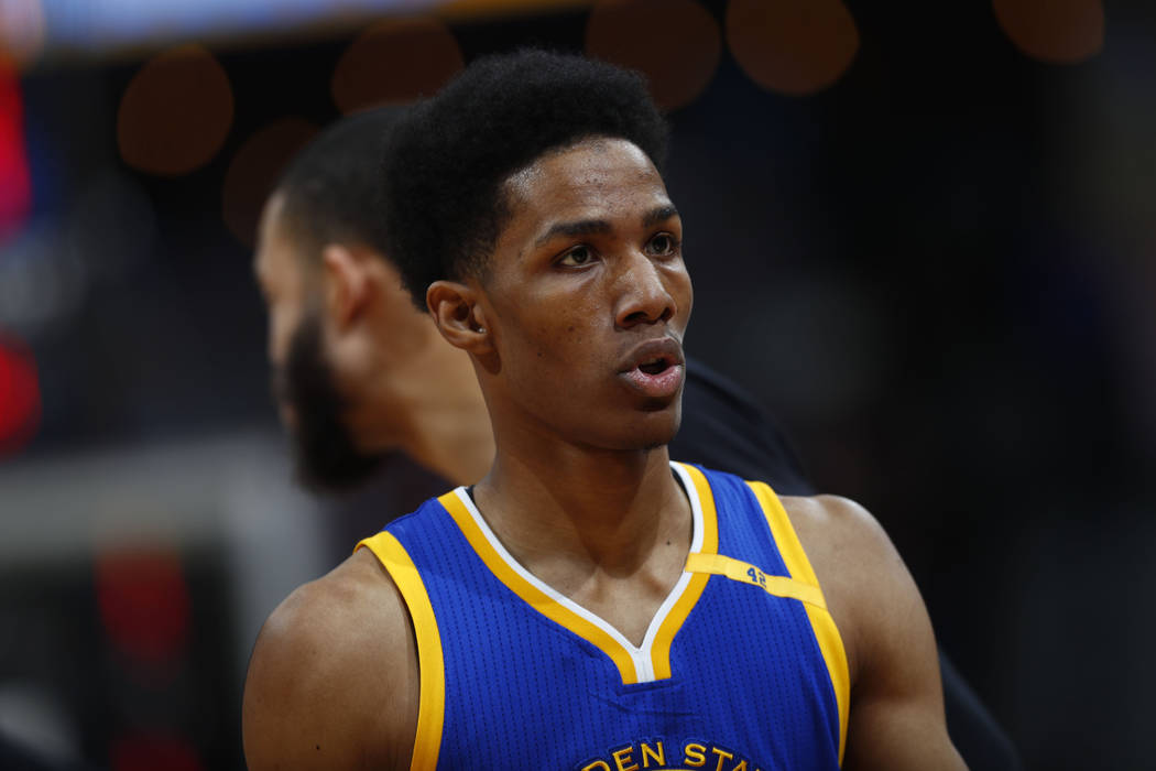 Golden State Warriors guard Patrick McCaw (0) in the second half of an NBA basketball game Monday, Feb. 13, 201, in Denver. The Nuggets won 132-110. (AP Photo/David Zalubowski)