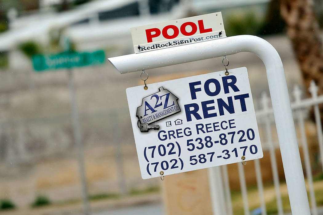 """A """"for rent"""" sign is displayed in front of a downtown home Tuesday, Jan. 19, 2016, in Las Vegas. David Becker/Las Vegas Review-Journal"""