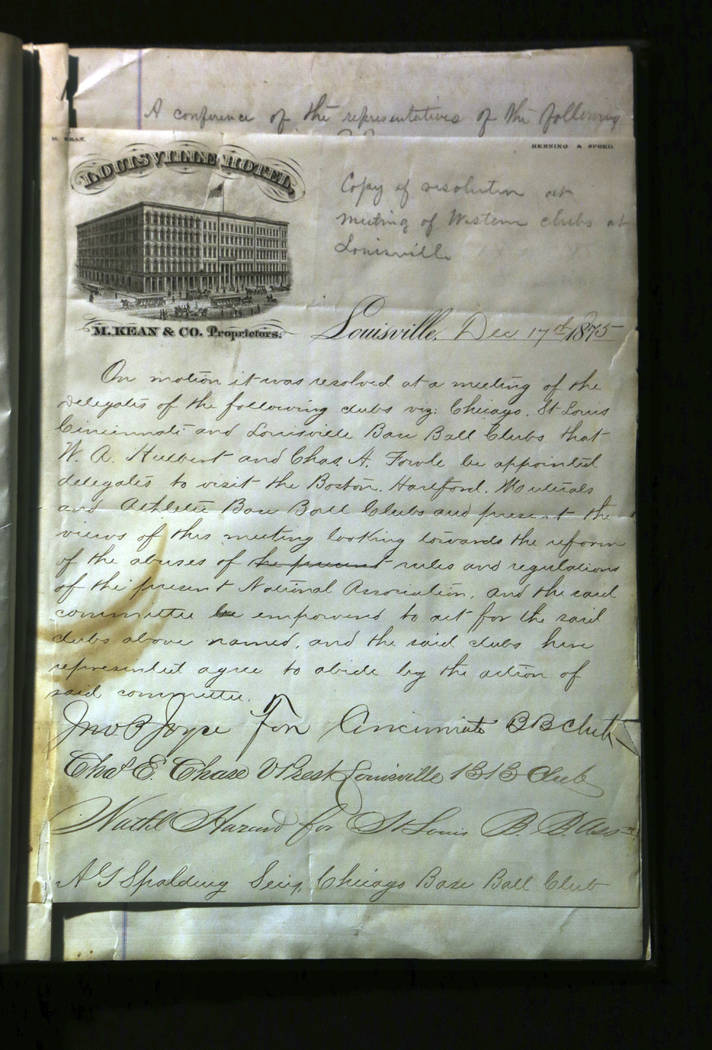 This image provided by SCP Auctions shows the first page of the minutes of a meeting of eight clubs on Dec. 17, 1875, in Louisville, Ky., to form the 1876 constitution that founded the National Le ...