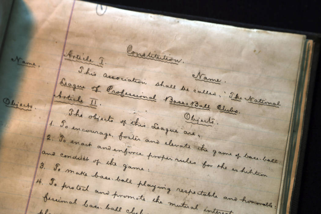 This image provided by SCP Auctions shows details of the preamble page to the 1876 constitution that founded the National League of Professional Base Ball and its objectives, leading to the modern ...