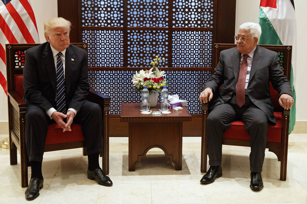 President Donald Trump meets with Palestinian President Mahmoud Abbas, Tuesday, May 23, 2017, in the West Bank City of Bethlehem. (Evan Vucci/AP)