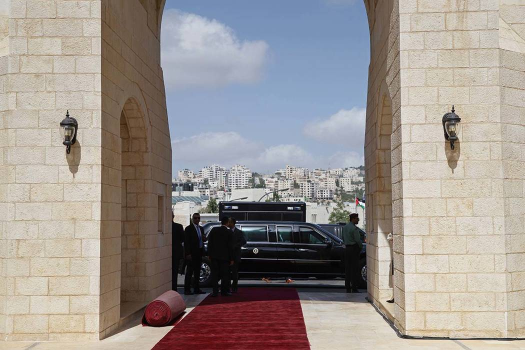 President Donald Trump's limo sits outside the Presidential Palace during a meeting with Palestinian President Mahmoud Abbas, Tuesday, May 23, 2017, in the West Bank City of Bethlehem. (Evan Vucci/AP)