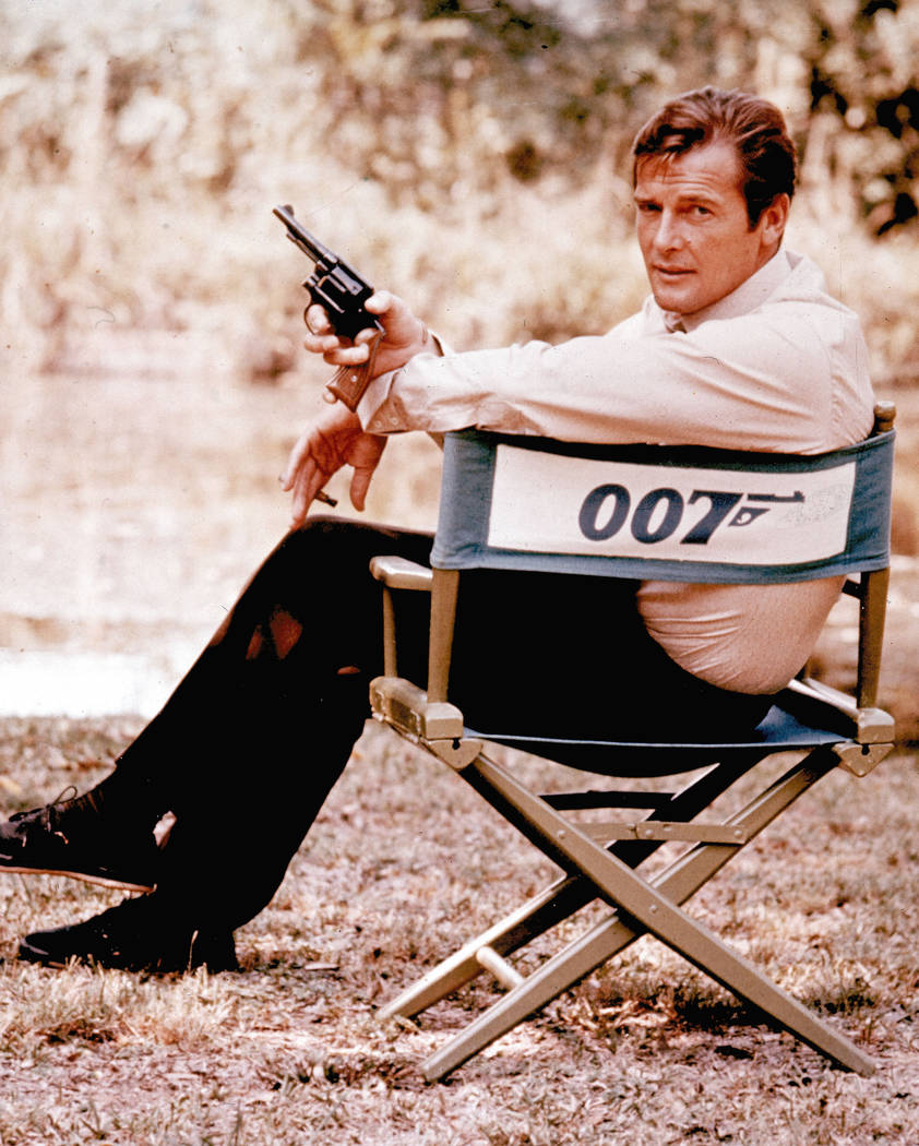 British actor Roger Moore, playing the title role of secret service agent 007, James Bond, is shown on location in England in 1972. (AP)