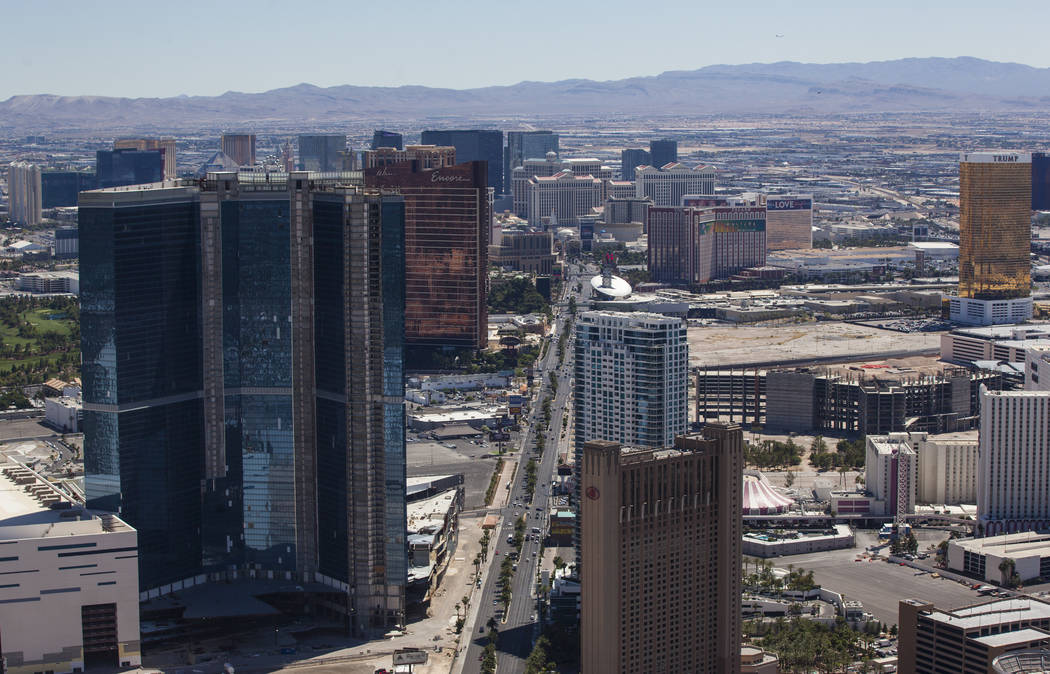 The Las Vegas Strip from the Stratosphere hotel-casino observation deck as temperatures approach 100 degrees in the Las Vegas Valley on Tuesday, May 23, 2017. Chase Stevens Las Vegas Review-Journa ...