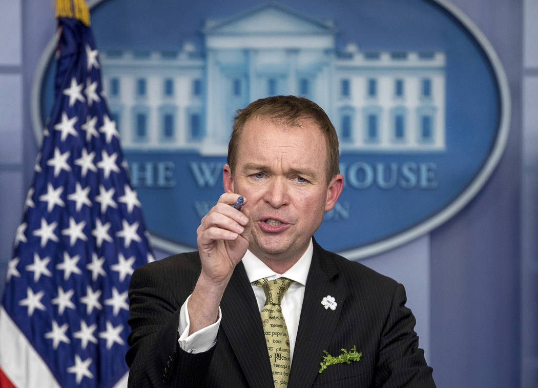 White House budget director Mick Mulvaney speaks at the White House in Washington, March 16, 2017. (Andrew Harnik/AP)