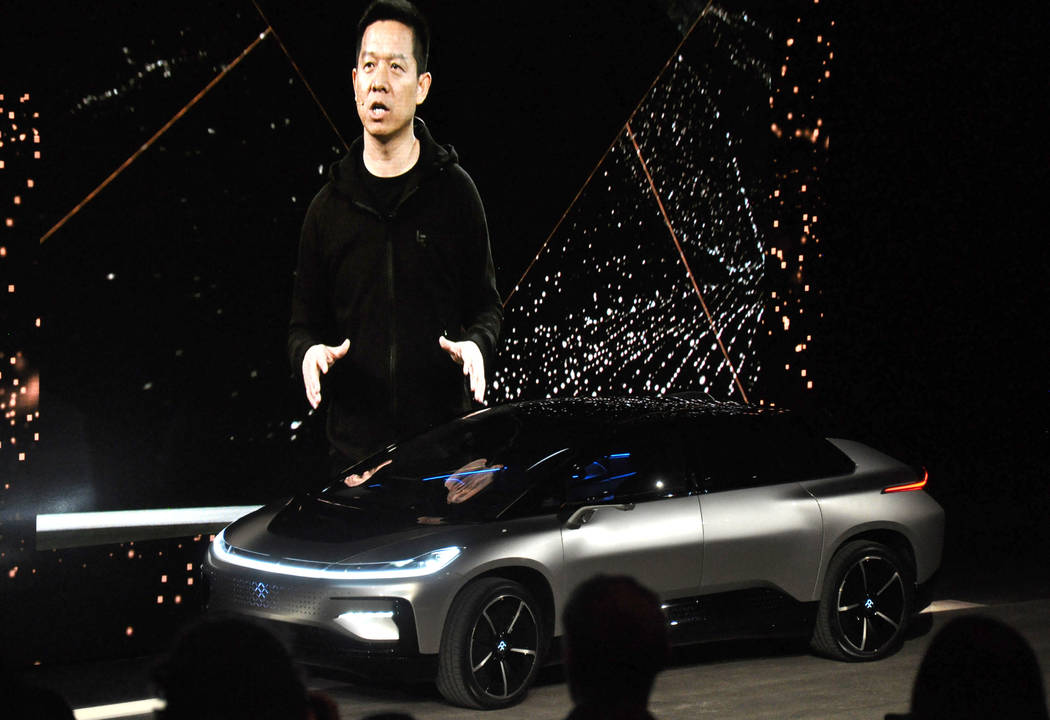 Leshi founder and principal Faraday Future financier Jia Yueting appeared in Las Vegas at the unveiling of the FF 91 electric car, Jan. 3, at the World Market Center Pavilion. Photo by Buford Davi ...