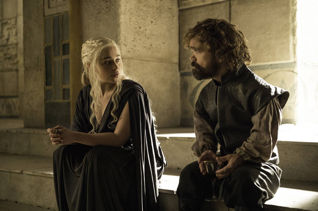 "Emilia Clarke and Peter Dinklage in ""Game of Thrones"" Helen Sloan HBO"