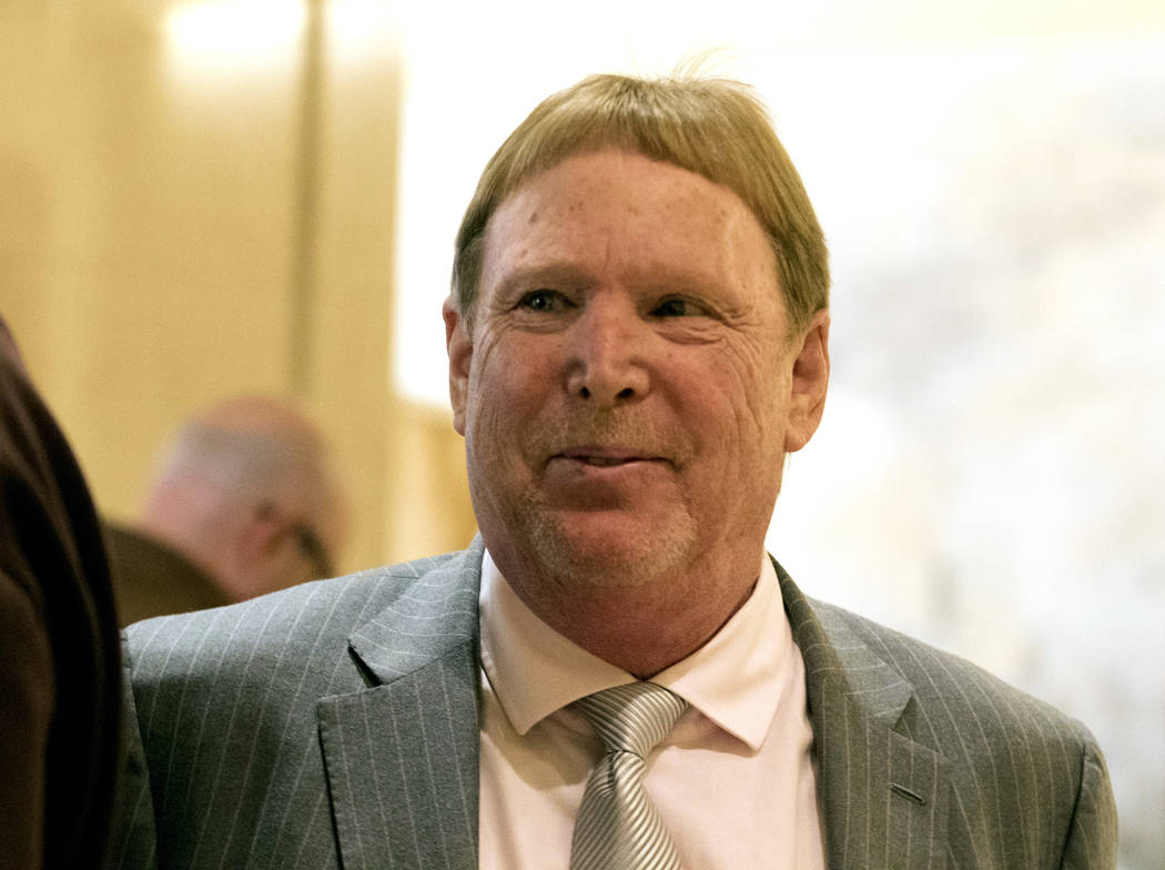 Oakland Raiders owner Mark Davis walks through a hallway of the JW Marriott hotel in Chicago, Ill., during a break at the NFL owners meeting on Tuesday, May 23, 2017. Heidi Fang/Las Vegas Review-J ...