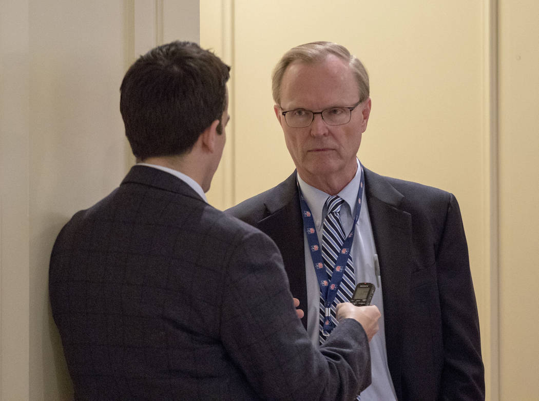 New York Giants owner John Mara, right, speaks to a reporter during a break at the NFL owners meeting at the JW Marriott hotel in Chicago, Ill., on Tuesday, May 23, 2017. Heidi Fang/Las Vegas Revi ...