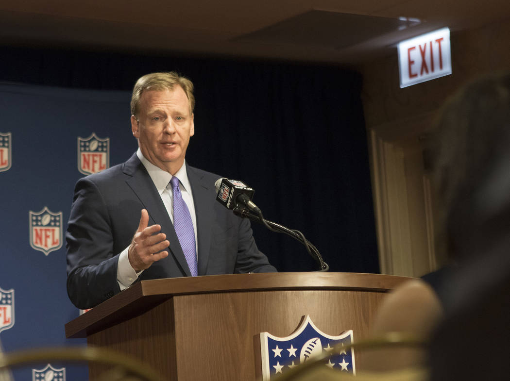 NFL commissioner Roger Goodell responds to reporters questions at a news conference at the NFL owners meeting at the JW Marriott hotel in Chicago, Ill., on May 23, 2017. Heidi Fang/Las Vegas Revie ...