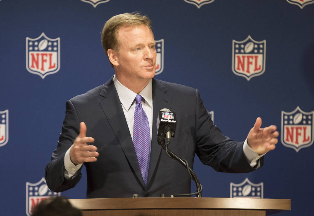 NFL commissioner Roger Goodell speaks to reporters at a news conference at the NFL owners meeting at the JW Marriott hotel in Chicago, Ill., on May 23, 2017. Heidi Fang/Las Vegas Review-Journal @H ...
