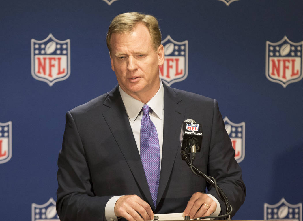 NFL commissioner Roger Goodell listens to a question at a news conference at the NFL owners meeting at the JW Marriott hotel in Chicago, Ill., on May 23, 2017. Heidi Fang/Las Vegas Review-Journal  ...
