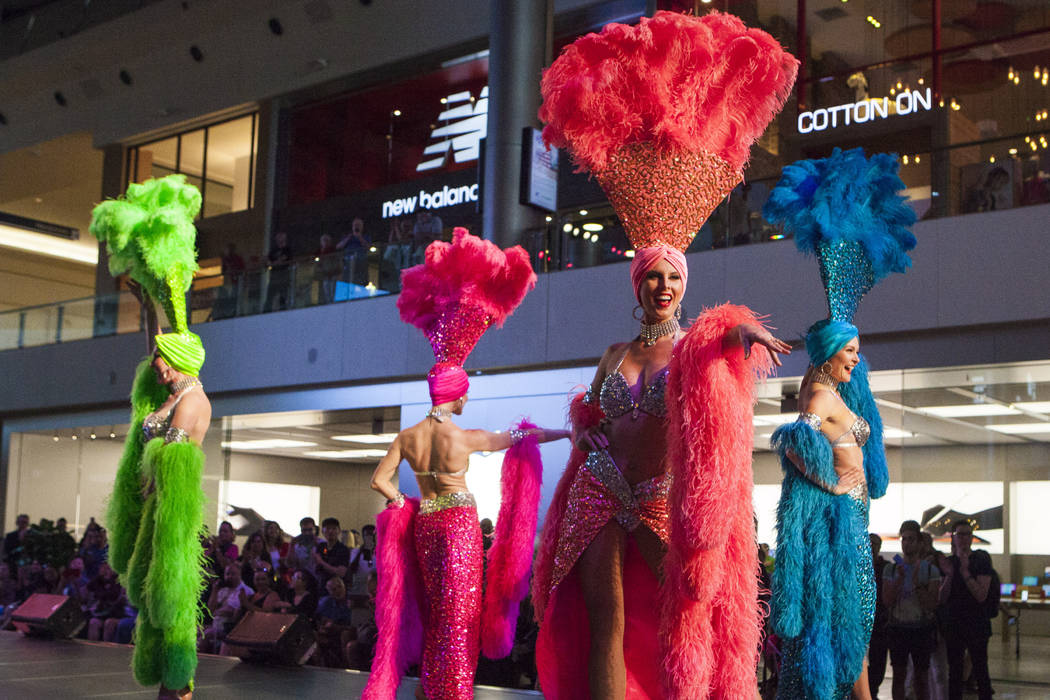 Viva Las Vegas showgirls perform during a celebration of tourism hosted by the Las Vegas Convention and Visitors Authority at the Fashion Show mall in Las Vegas on Tuesday, May 9, 2017. (Miranda A ...