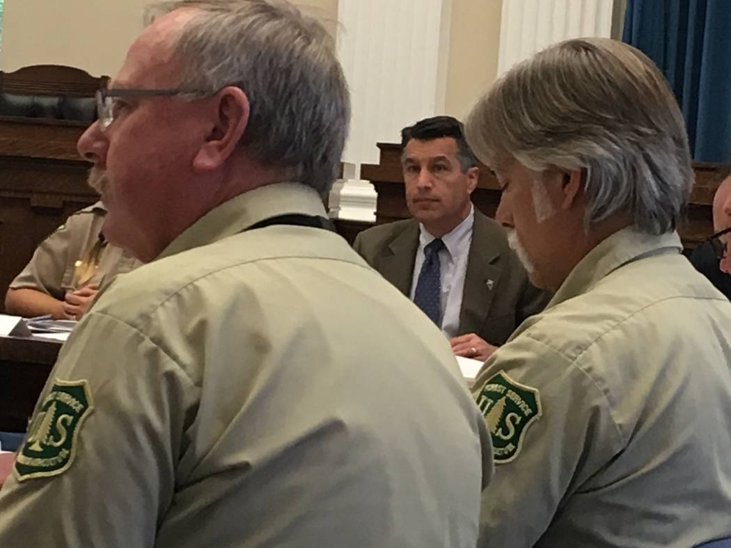 Gov. Brian Sandoval was briefed on the 2017 wildland fire season on Tuesday, May 23, 2017, in the state Capitol Building. Sean Whaley/Las Vegas Review-Journal.