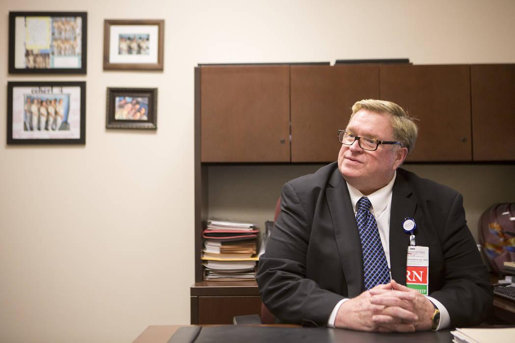 Chief nursing officer John Coldsmith speaks with a reporter in his office at Centennial Hills Hospital on Wednesday, May 24, 2017, in Las Vegas. (Bridget Bennett/Las Vegas Review-Journal) @bridget ...
