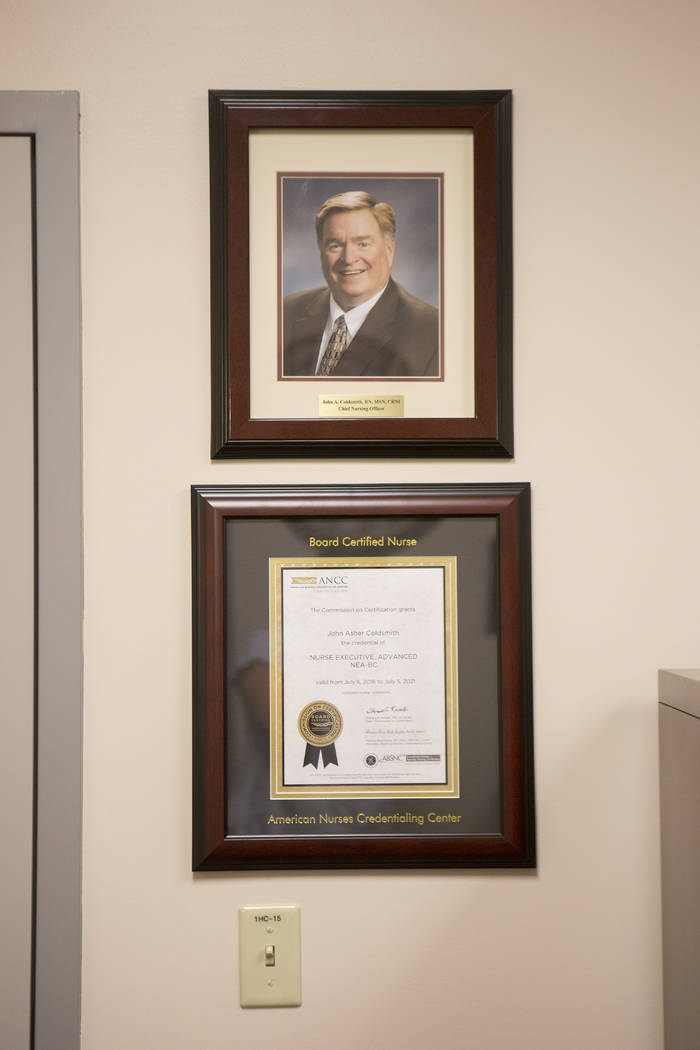 A portrait of chief nursing officer John Coldsmith is dismayed in his office at Centennial Hills Hospital on Wednesday, May 24, 2017, in Las Vegas. (Bridget Bennett/Las Vegas Review-Journal) @brid ...