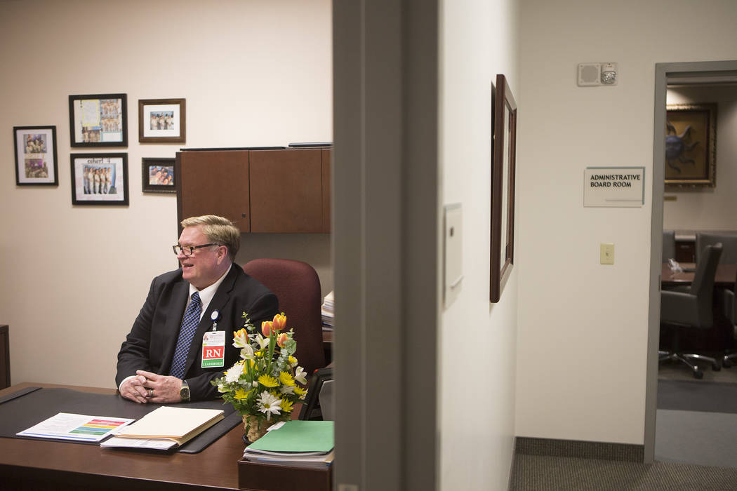 Chief nursing officer John Coldsmith speaks with a reporter in his office at Centennial Hills Hospital on Wednesday, May 24, 2017, in Las Vegas.  Bridget Bennett Las Vegas Review-Journal @bridgetk ...