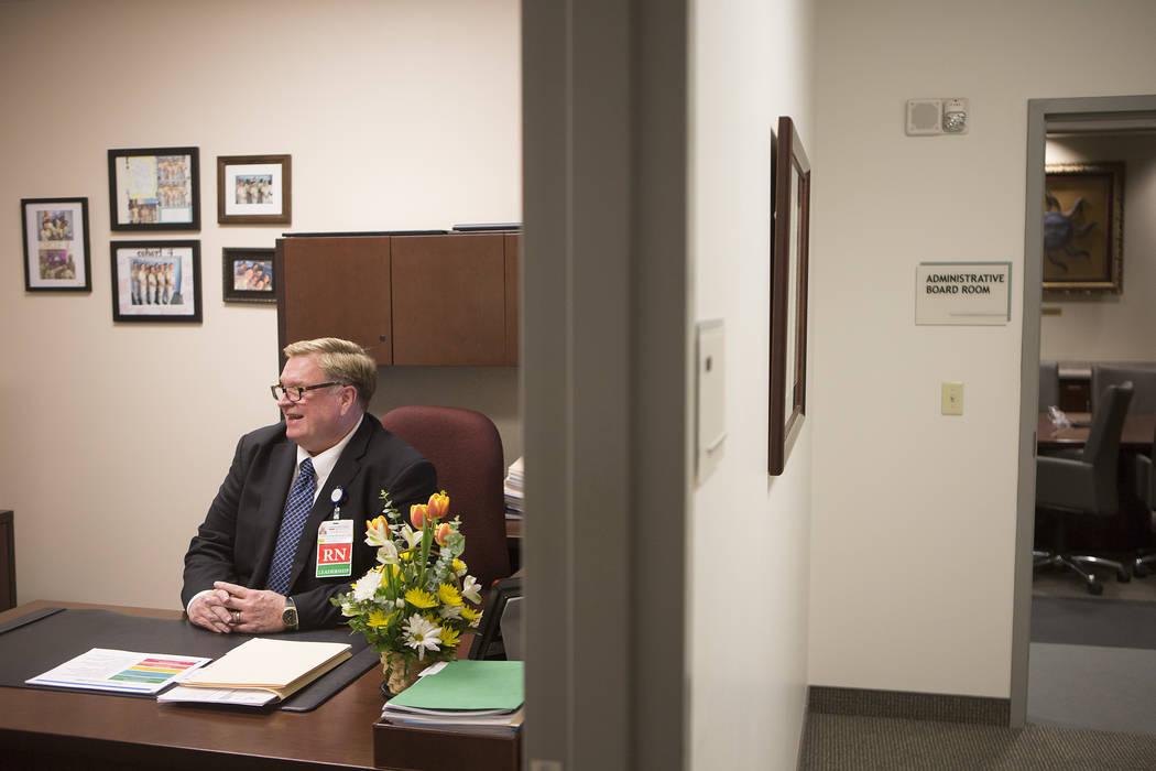 Chief nursing officer John Coldsmith speaks with a reporter in his office at Centennial Hills Hospital on Wednesday, May 24, 2017, in Las Vegas.  Bridget Bennett Las Vegas Review-Journal @bridgetk ...
