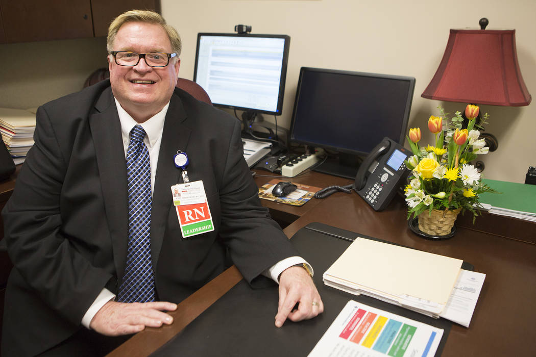 Chief nursing officer John Coldsmith is pictured in his office at Centennial Hills Hospital on Wednesday, May 24, 2017, in Las Vegas.  Bridget Bennett Las Vegas Review-Journal @bridgetkbennett