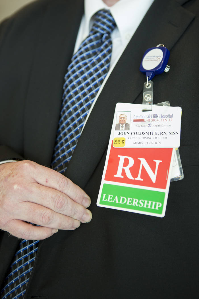 Chief nursing officer John Coldsmith displays his badge at Centennial Hills Hospital on Wednesday, May 24, 2017, in Las Vegas.  Bridget Bennett Las Vegas Review-Journal @bridgetkbennett