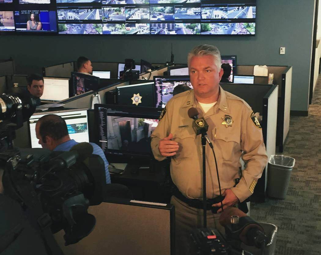 Metropolitan Police Department Capt. Christopher Darcy, who heads the Southern Nevada Counter-Terrorism Center, addresses Las Vegas media in response to a bomb attack in Manchester and a recently  ...