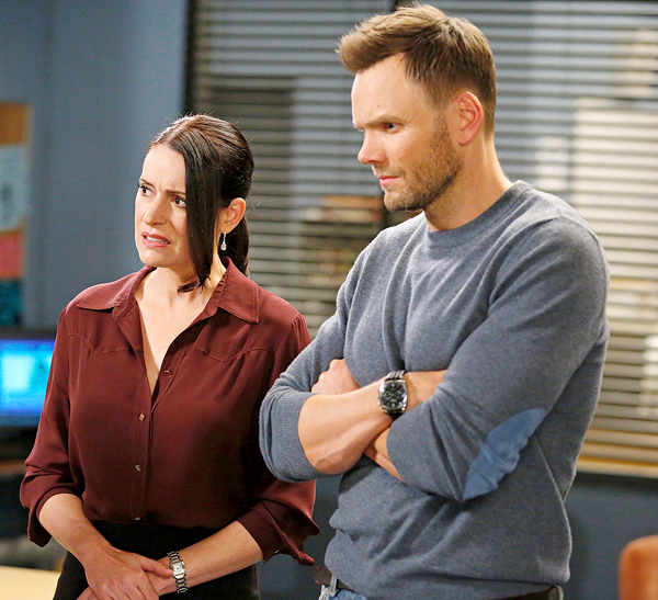 "Paget Brewster and Joel McHale lead the ensemble cast of ""Community."""