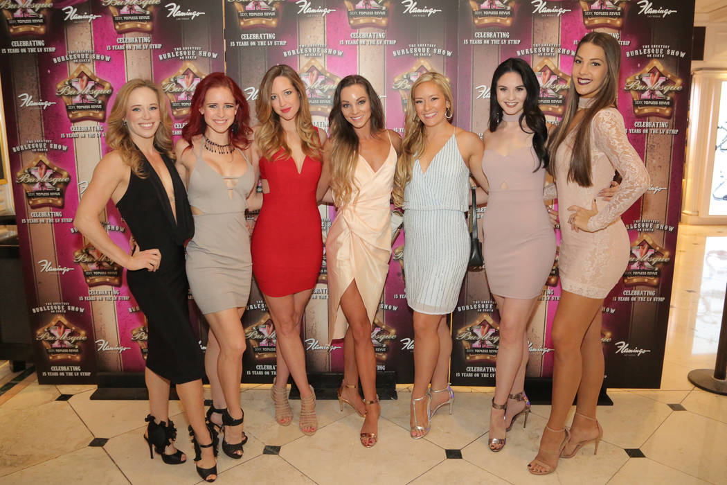 """Harrah's headliners """"X Country"""" stars attend a party for """"X Burlesque"""" at The Flamingo on Thursday, May 18, 2017, in Las Vegas. (Edison Graff/Stardust Fallout)"""
