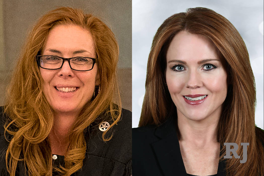Las Vegas Municipal Court judge Heidi Almase, left, and Las Vegas Municipal Court judge candidate Cara Campbell, right.
