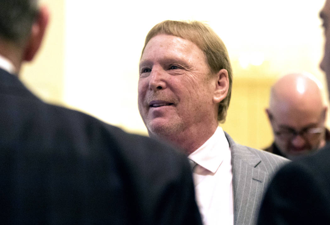 Oakland Raiders owner Mark Davis speaks to reporters at the JW Marriott hotel in Chicago, Ill., during a break at the NFL owners meeting on Tuesday, May 23, 2017. (Heidi Fang/Las Vegas Review-Jour ...