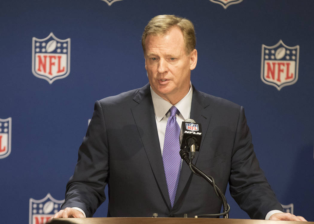 NFL commissioner Roger Goodell answers questions from the media at a news conference at the NFL owners meeting at the JW Marriott hotel in Chicago, Ill., on May 23, 2017. (Heidi Fang/Las Vegas Rev ...