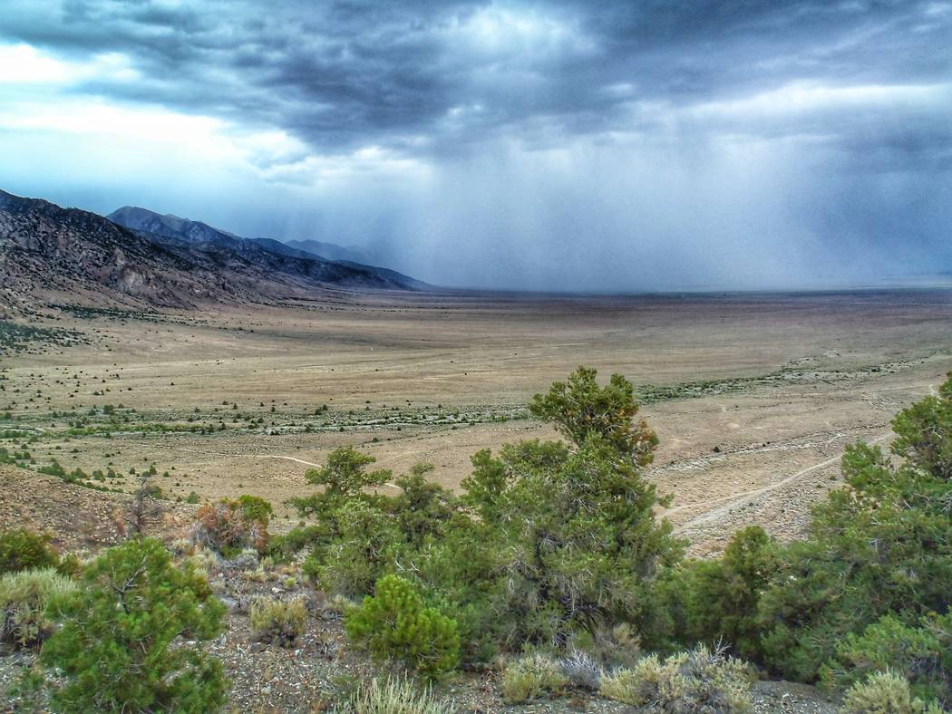 A storm moves through Big Smoky Valley in Central Nevada. Environmentalists are protesting plans by the Bureau of Land Management to offer new oil and gas leases in this and two other valleys on J ...