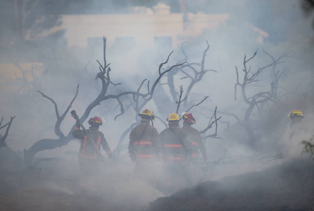 Clark County firefighters respond to a brush fire at Sunset Park in Las Vegas on Tuesday, May 23, 2017. Chase Stevens Las Vegas Review-Journal @csstevensphoto