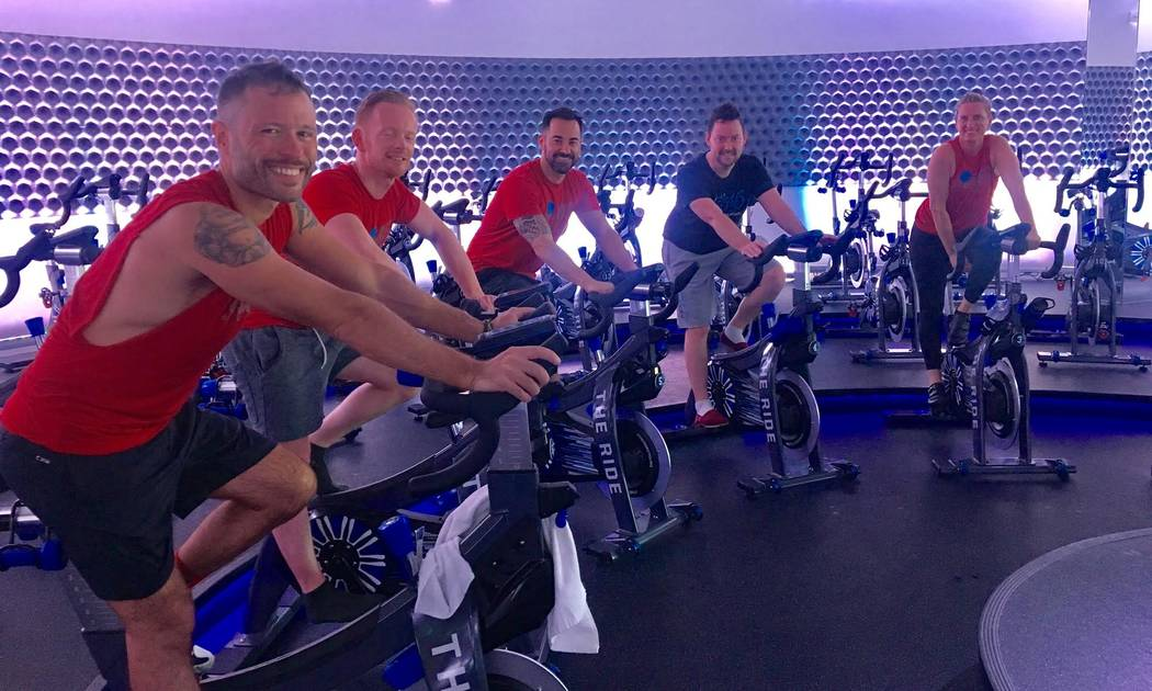 Some members of Team Bank of America take to spinning May 20, 2017, at The Ride cycle studio, 4245 S. Grand Canyon Drive, Suite 115, in preparation for a 545-mile endurance ride, part of AIDS/Life ...