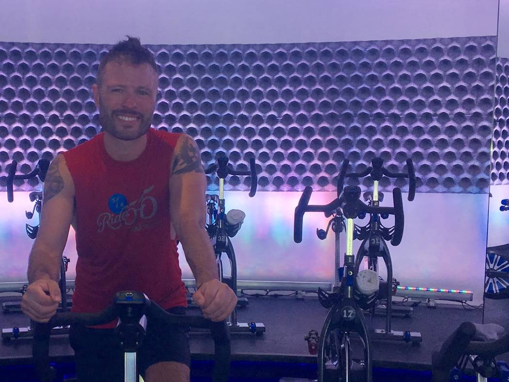 George McGoldrick works out in a spin class May 20, 2017, to prepare for a 545-mile bike ride from San Francisco to Los Angeles. The event is the AIDS/Lifecycle 2017. McGoldrick's brother killed h ...