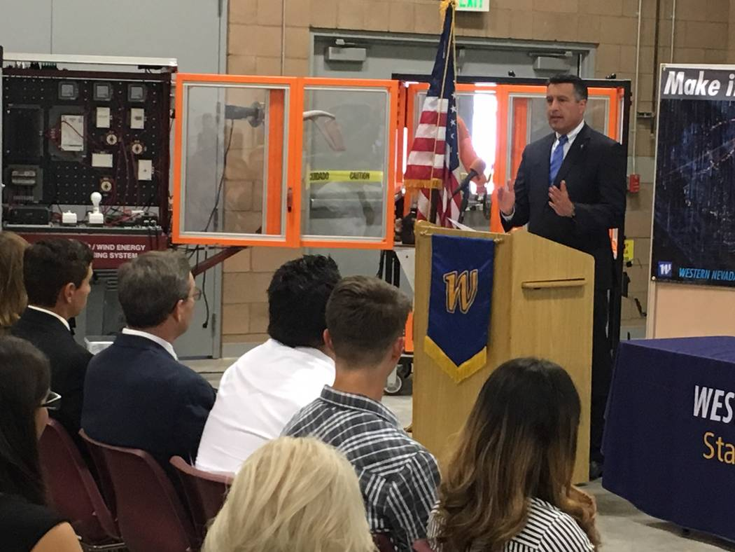 Gov. Brian Sandoval gives remarks before signing Senate Bill 19 at the Western Nevada College in Carson City on Wednesday, May 24, 2017. Sean Whaley Las Vegas Review-Journal