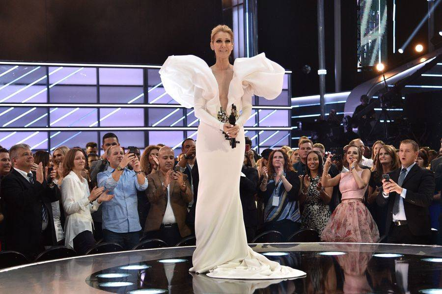 "Celine Dion receives a standing ovation after performing ""My Heart Will Go On"" during The 2017 Billboard Music Awards at T-Mobile Arena on Sunday, May 21, 2017, in Las Vegas. (Kevin Mazur/Getty Im ..."