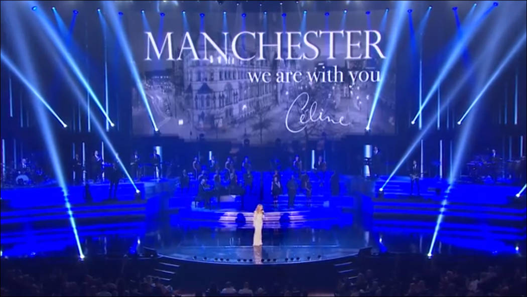 Celine Dion pays tribute to Manchester Arena victims during her show at The Colosseum at Caesars Palace on Tuesday, May 23, 2017, in Las Vegas. (Facebook)