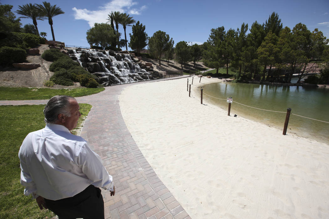 Sig Ortloff, general manager at Hilton Lake Las Vegas, walks by the blocked off lagoon area at the resort in Henderson on Thursday, May 25, 2017. Chase Stevens Las Vegas Review-Journal @csstevensphoto