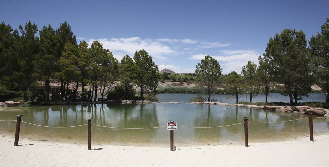 The lagoon area, which is closed off, at Hilton Lake Las Vegas in Henderson on Thursday, May 25, 2017. Chase Stevens Las Vegas Review-Journal @csstevensphoto
