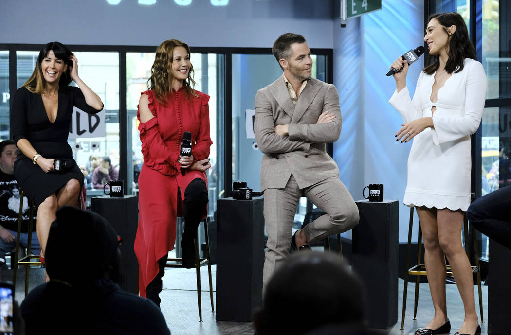 "Director Patty Jenkins, from left, and actors Connie Nielsen, Chris Pine and Gal Gadot participate in the BUILD Speaker Series to discuss the film, ""Wonder Woman"" at AOL Studios on Tuesday, May 23 ..."