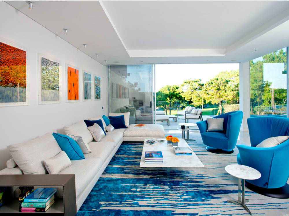 Houzz Blue and white are prominently displayed in this living area.
