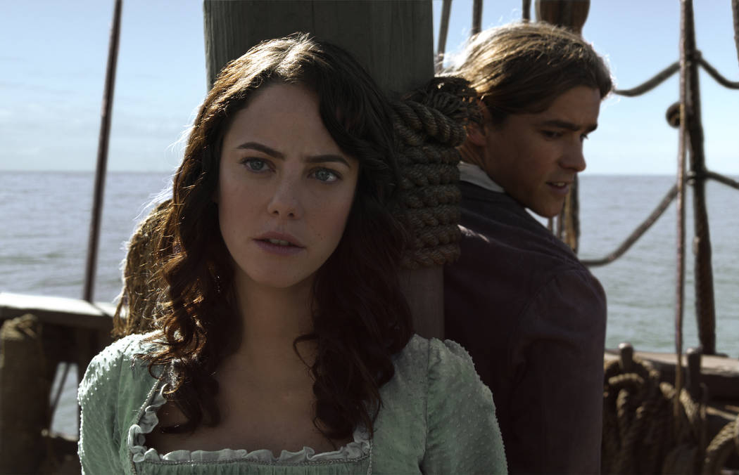 "Astronomer and horologist Carina Smyth (Kaya Scodelario) and the Royal Navy's Henry Turner (Brenton Thwaites) appear in a scene from ""Pirates of the Caribbean: Dead Men Tell No Tales"" .©Dis ..."