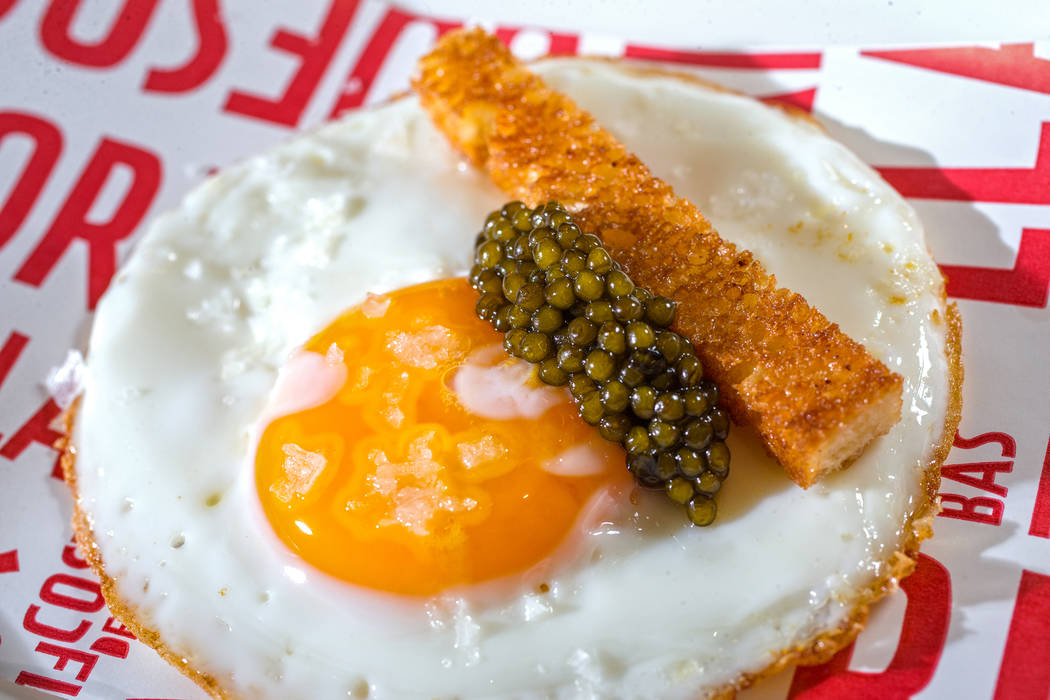 The egg taco, with fried egg, caviar, brioche and truffles at Jaleo on Thursday, May 25, 2017, at the Cosmopolitan hotel-casino, in Las Vegas. Benjamin Hager Las Vegas Review-Journal @benjaminhphoto