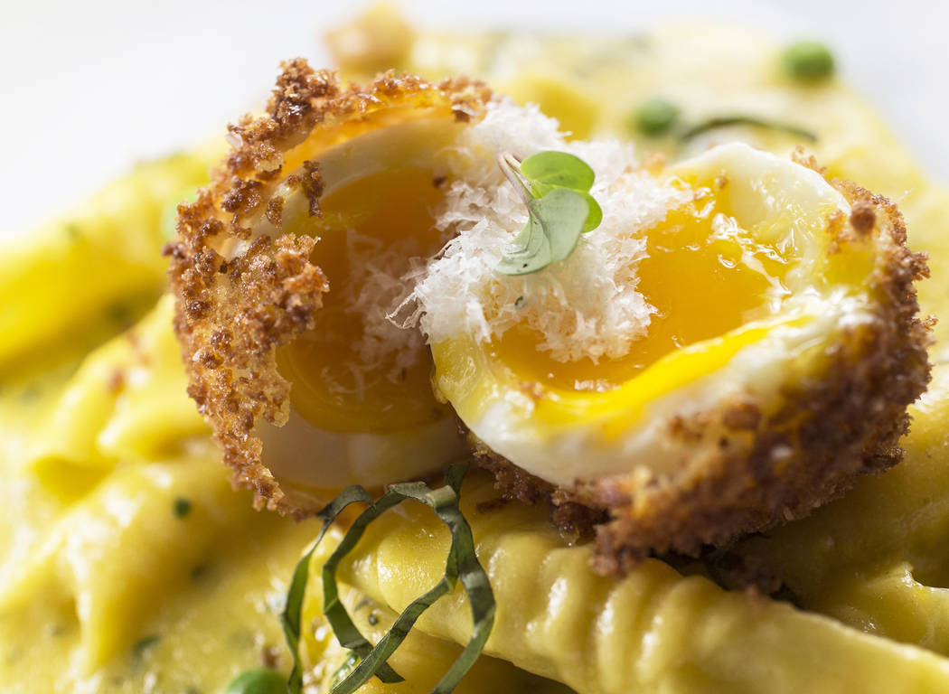 The garganelli carbonara with deep-fried, soft-boiled egg at Twin Creeks Steakhouse on Friday, May 26, 2017, at Silverton hotel-casino, in Las Vegas. Benjamin Hager Las Vegas Review-Journal @benja ...