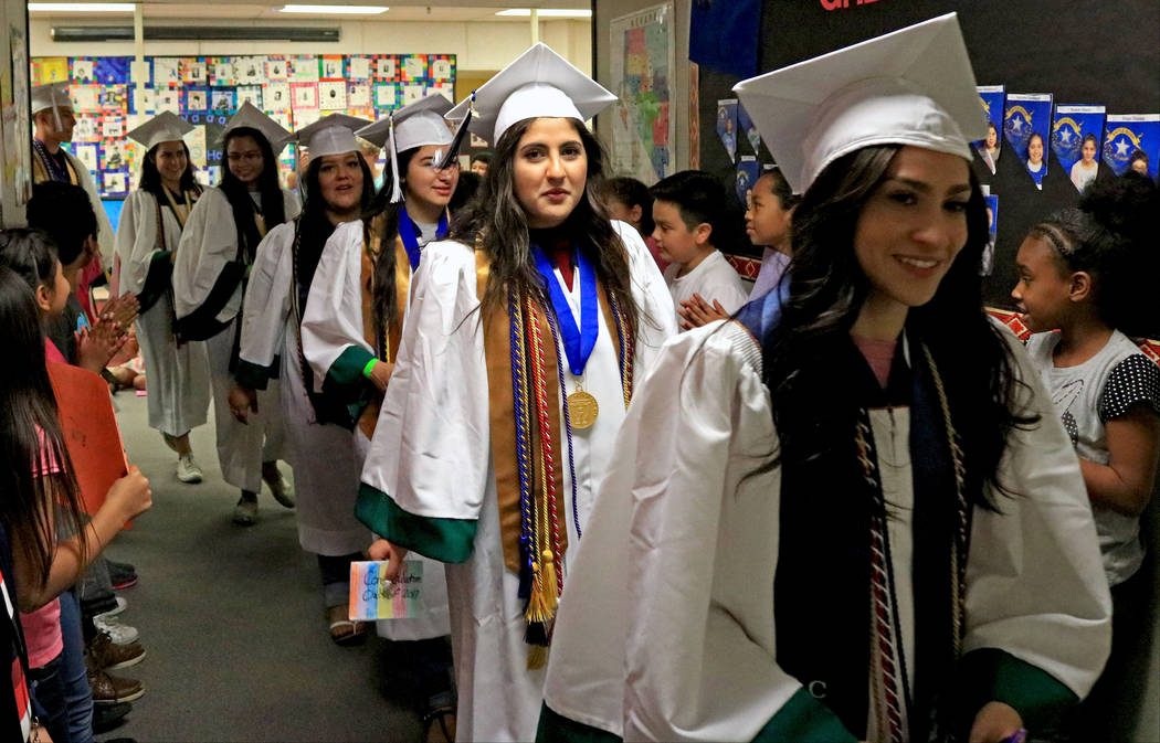 Spring Valley High School graduates participate in the Grad Walk at Pat A. Diskin Elementary School, Wednesday, May 24, 2017. Gabriella Benavidez Las Vegas Review-Journal @latina_ish