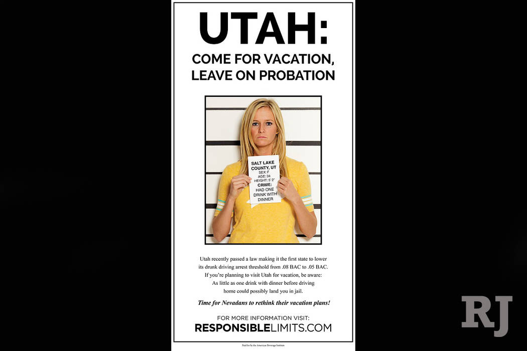 The American Beverage Institute is targeting Utah's law lowering the limit for DUI through advertisements in newspapers in nearby states. (American Beverage Institute)