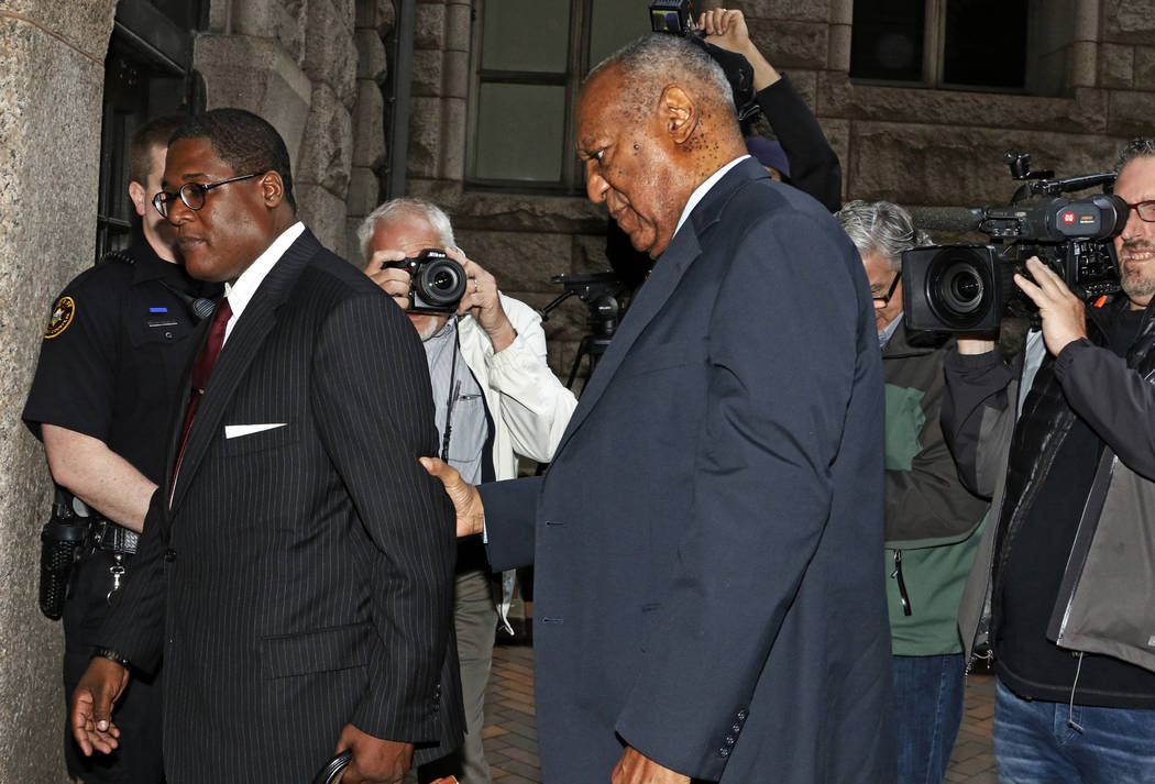 Bill Cosby, center, arrives for the third day of jury selection in his sexual assault case at the Allegheny County Courthouse, Wednesday, May 24, 2017, in Pittsburgh. The case is set for trial Jun ...